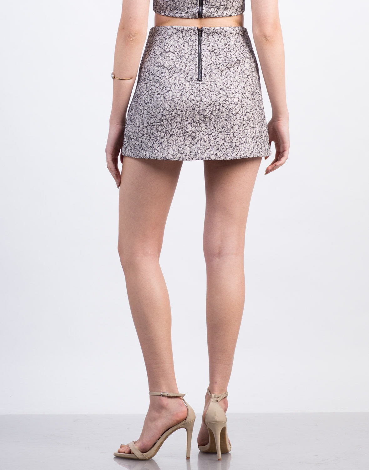 Back View of Metallic Woven Jacquard Mini Skirt