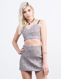 Front View of Metallic Woven Jacquard Mini Skirt