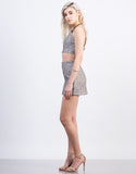 Side View of Metallic Woven Jacquard Mini Skirt