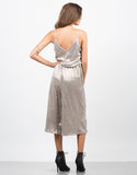 Back View of Metallic Culotte Jumpsuit