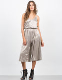 Front View of Metallic Culotte Jumpsuit