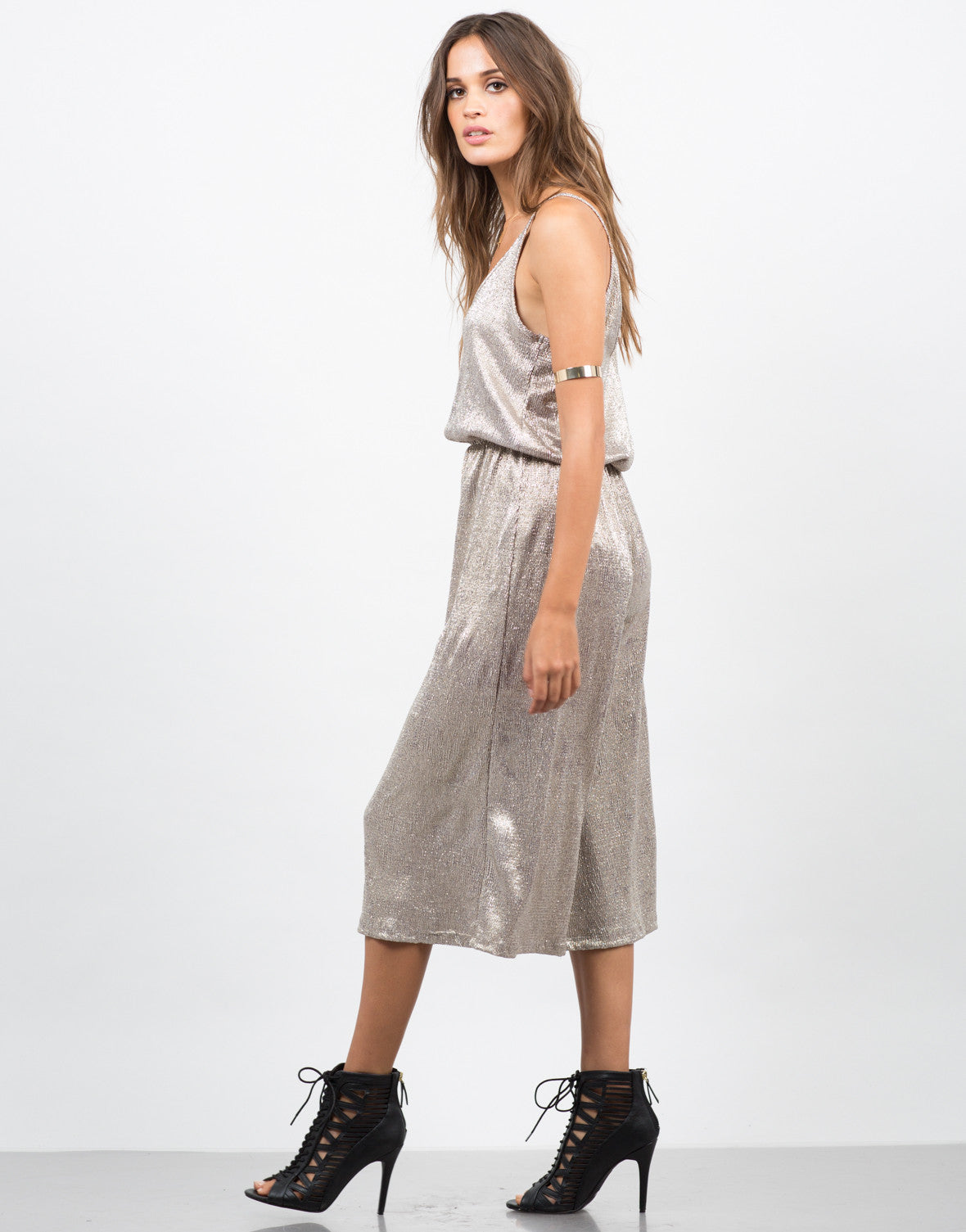 Side View of Metallic Culotte Jumpsuit