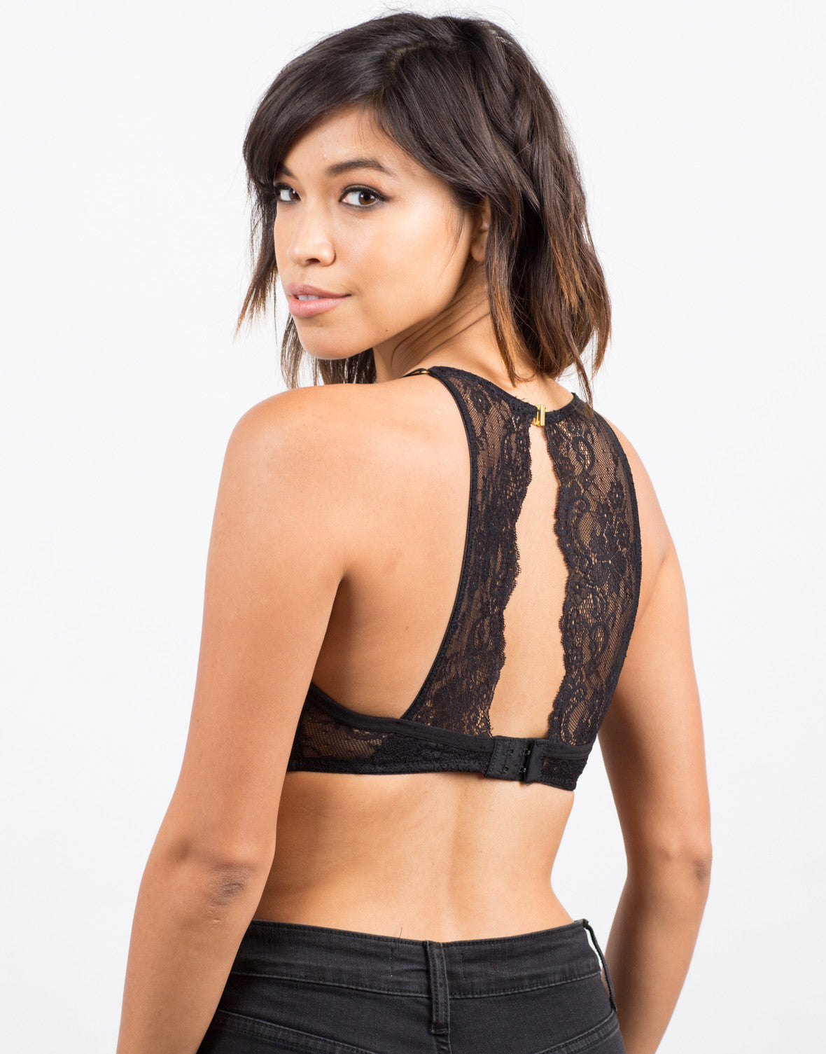 Back View of Microfiber Lace Bralette