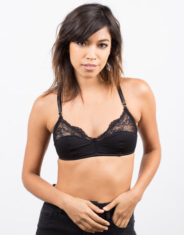 Front View of Microfiber Lace Bralette