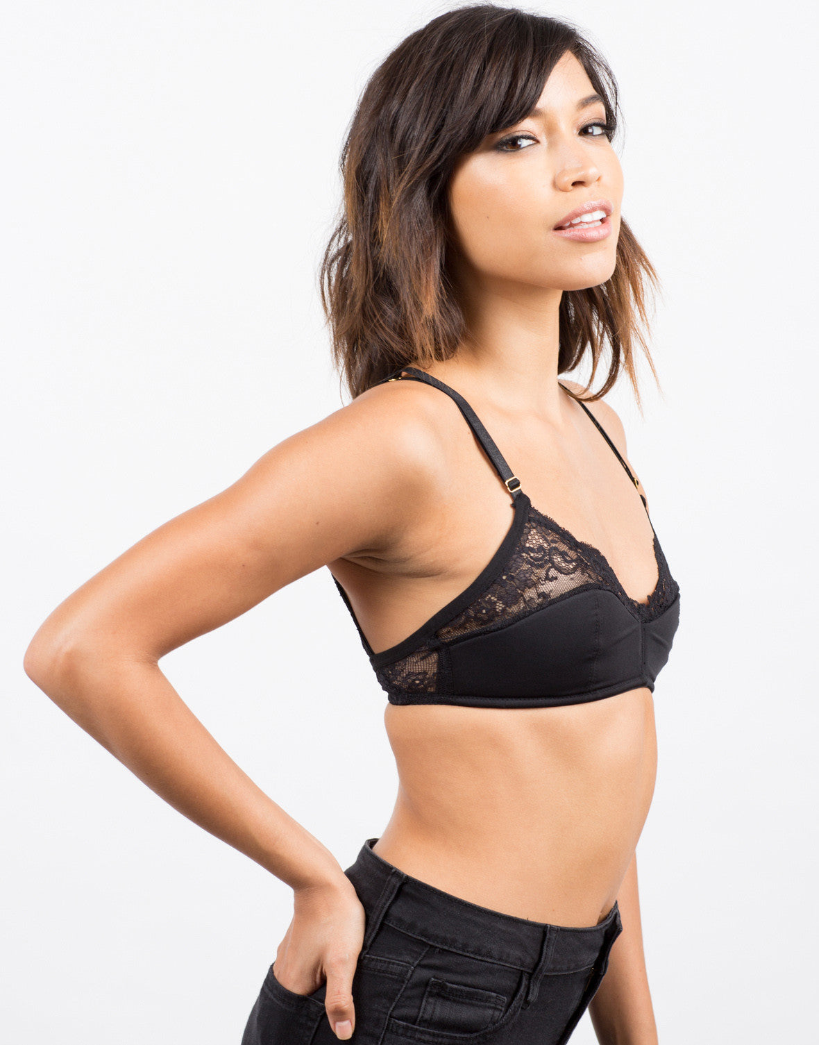 Side View of Microfiber Lace Bralette