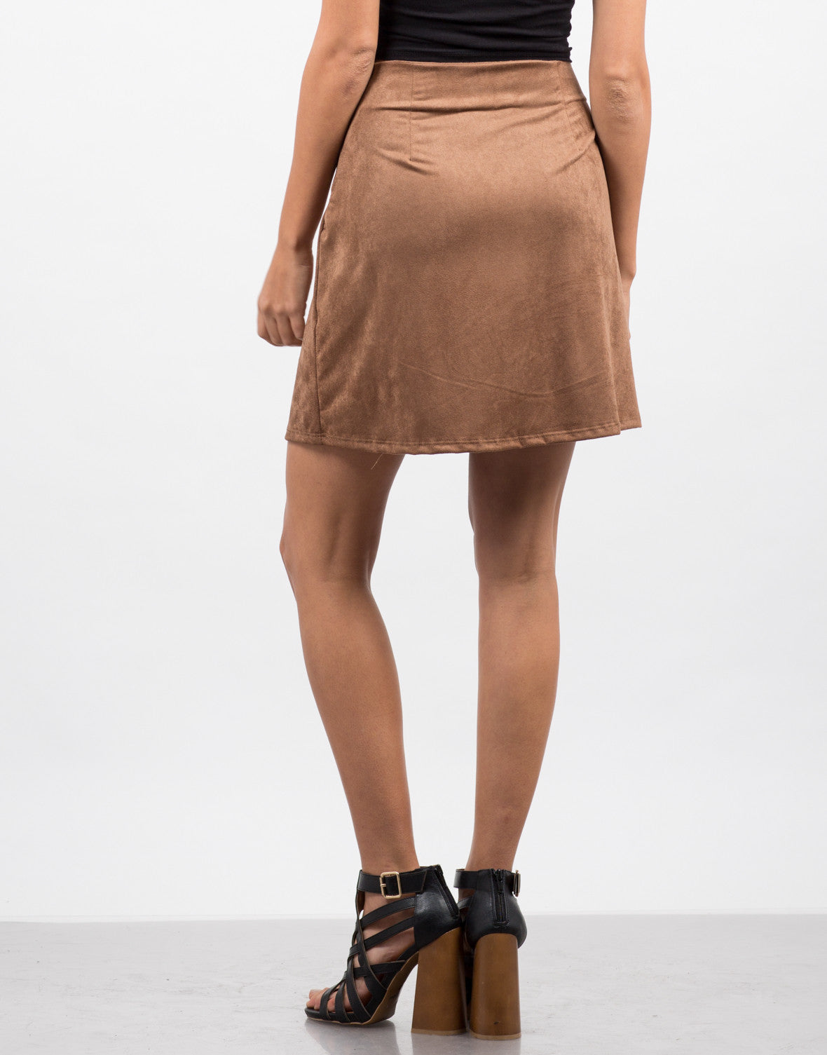 Back View of Microsuede Lace Up Skirt