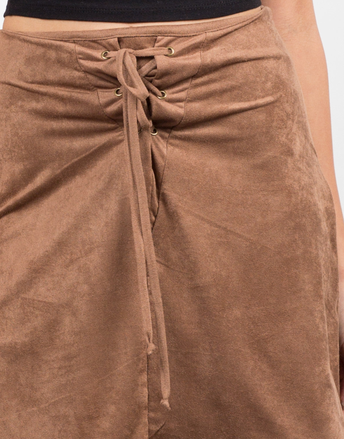 Detail of Microsuede Lace Up Skirt