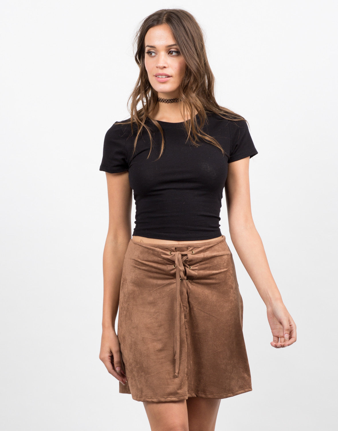 Front View of Microsuede Lace Up Skirt