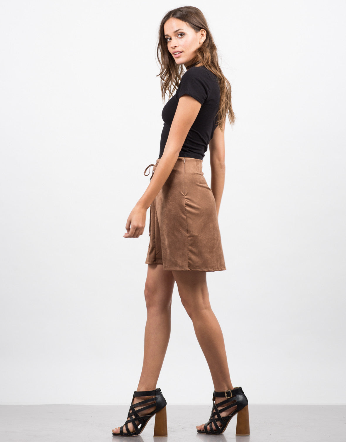 Side View of Microsuede Lace Up Skirt