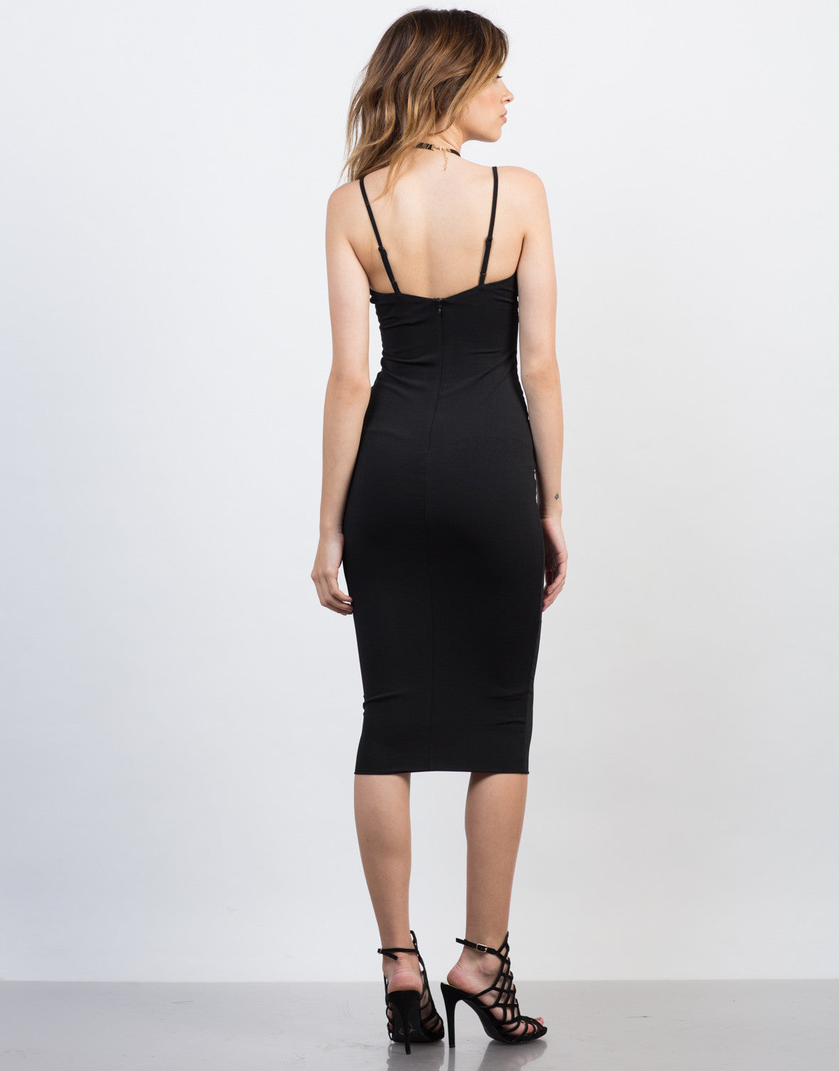 Back View of Midi Black Party Dress
