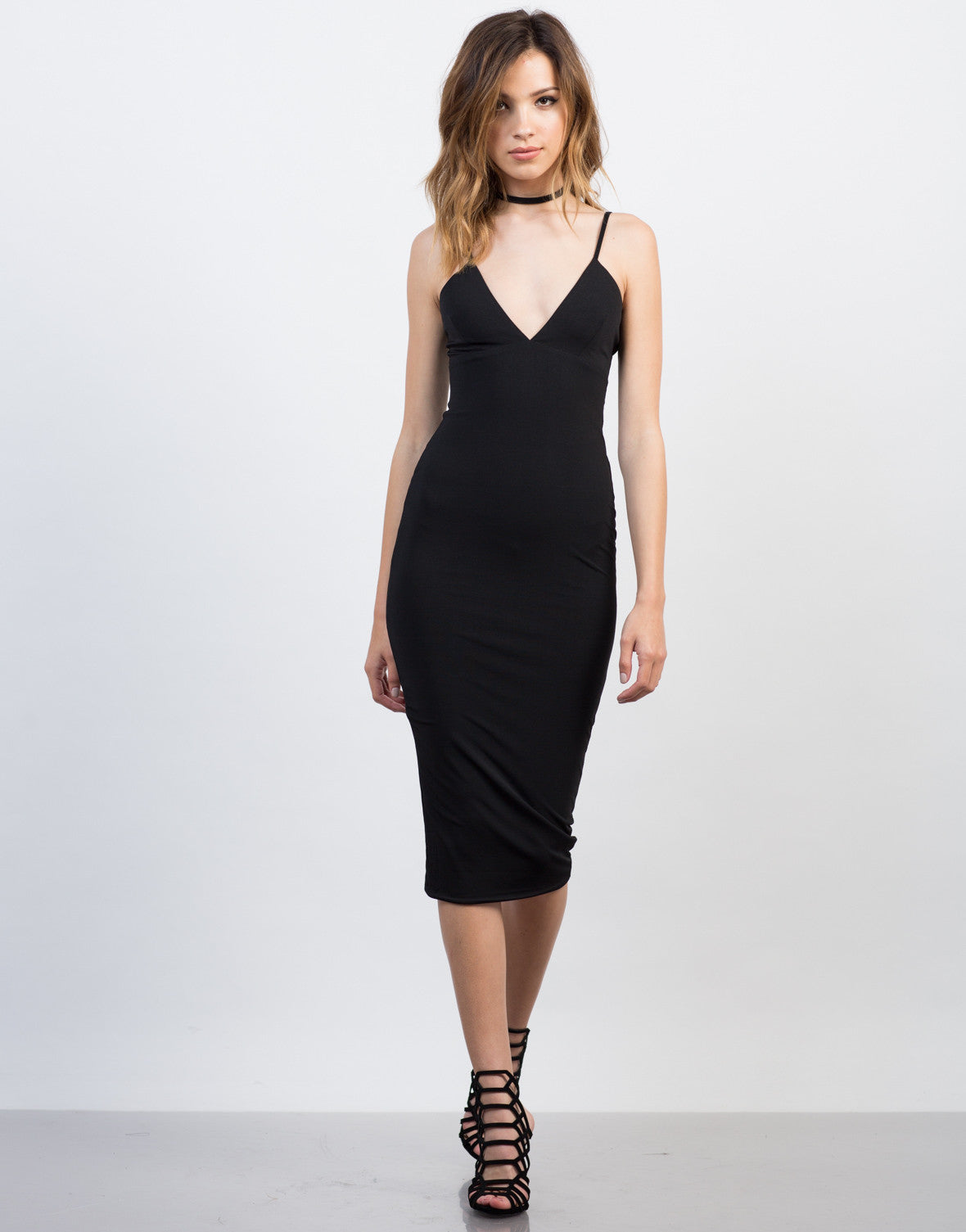 Front View of Midi Black Party Dress