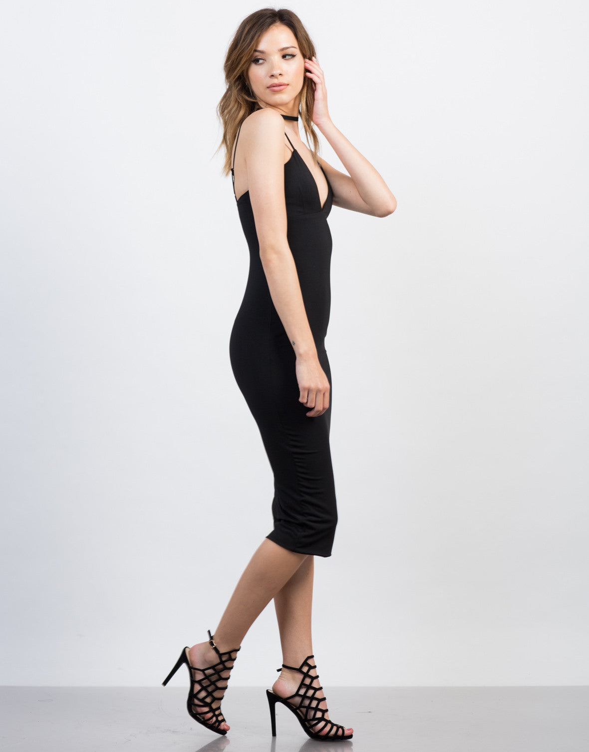 Side View of Midi Black Party Dress