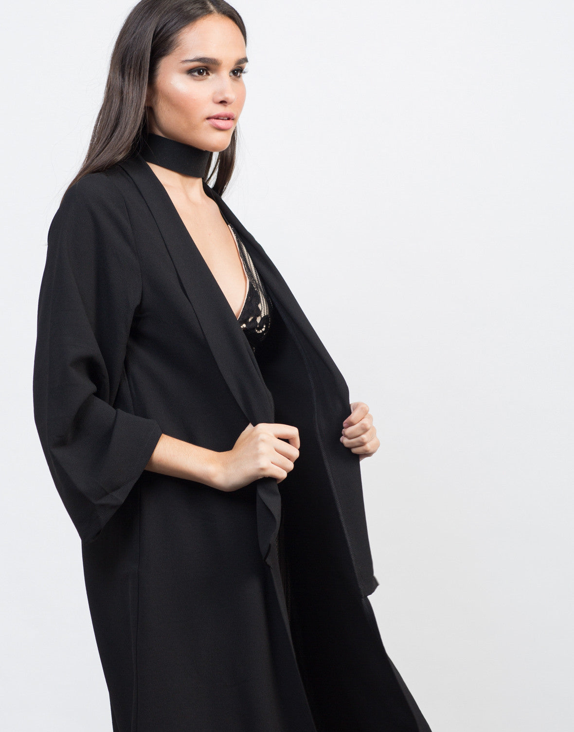 Mid-Length Open Front Jacket