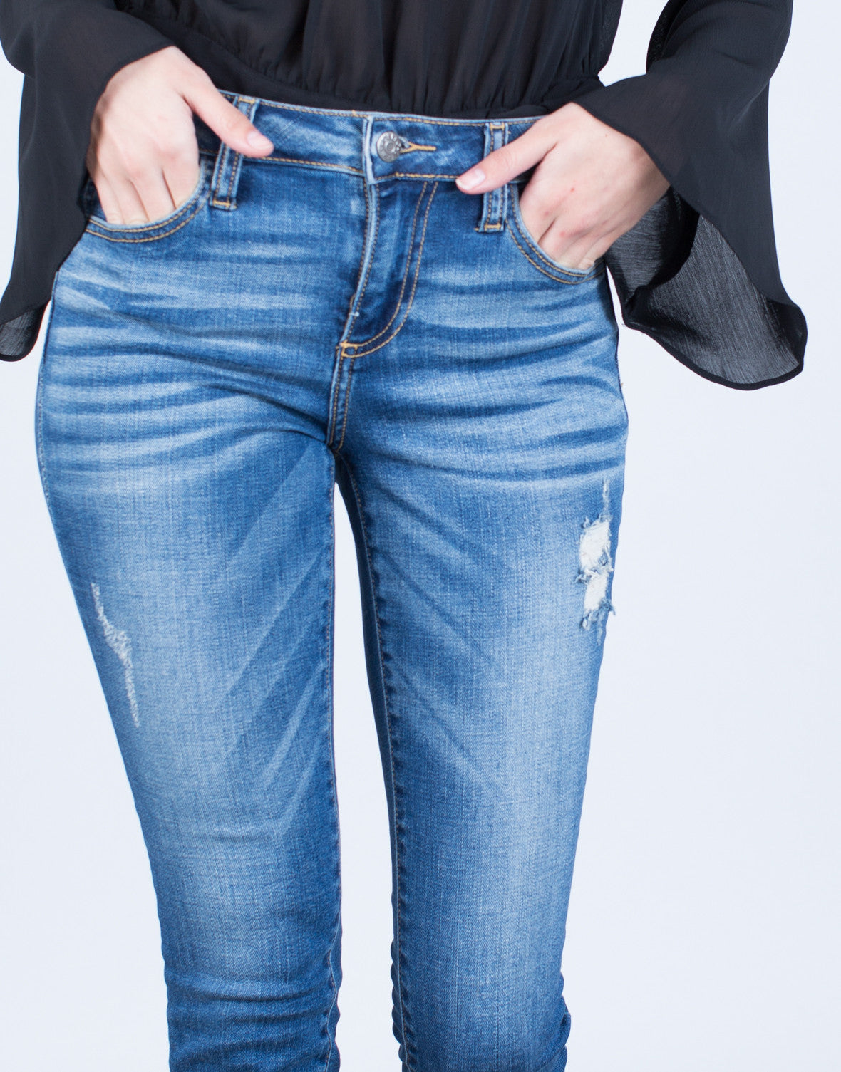 Mid-Rise Blue Denim Jeans