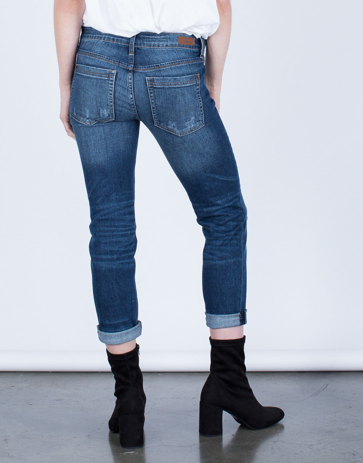 Back View of Mid-Rise Cropped Jeans