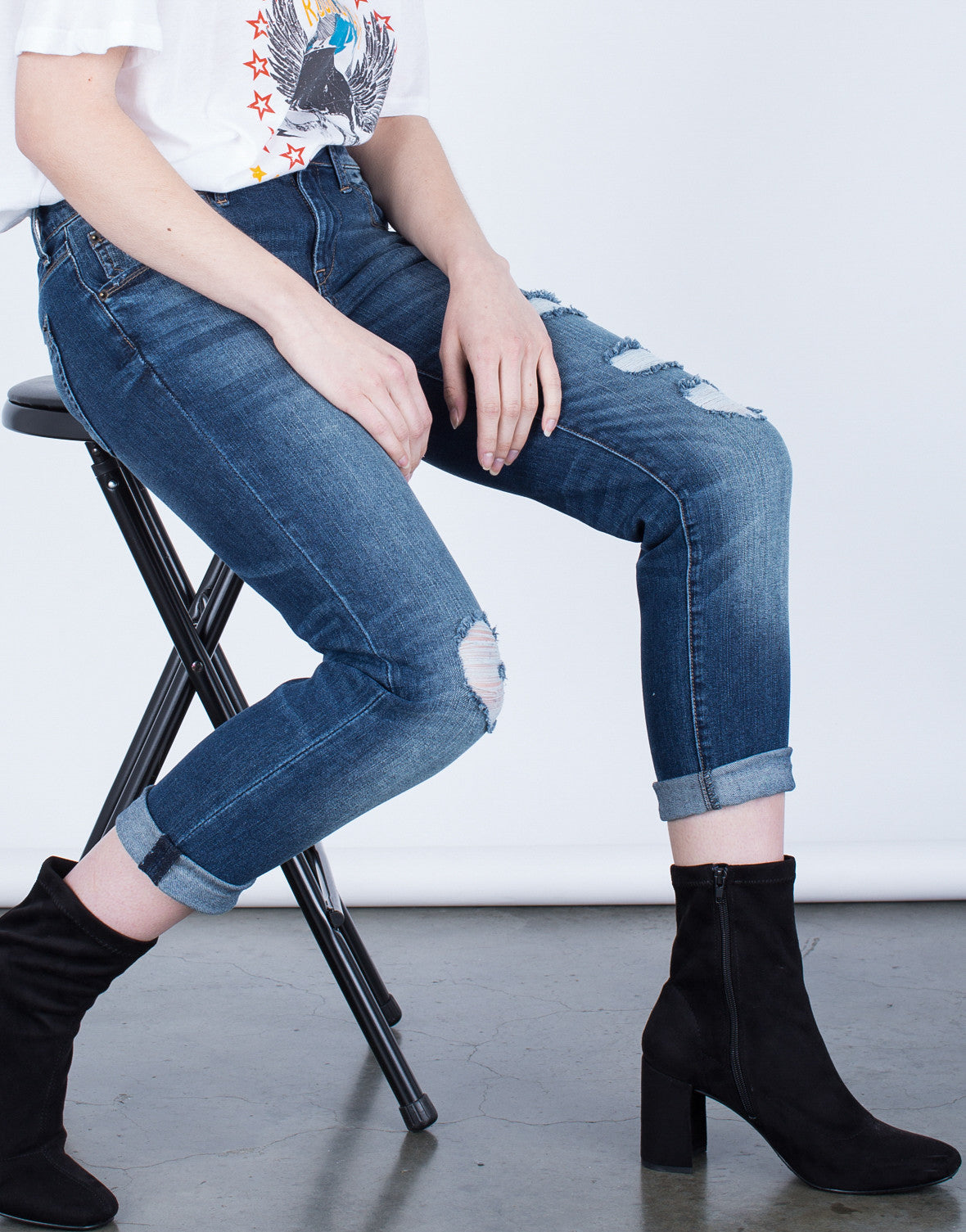 Detail of Mid-Rise Cropped Jeans