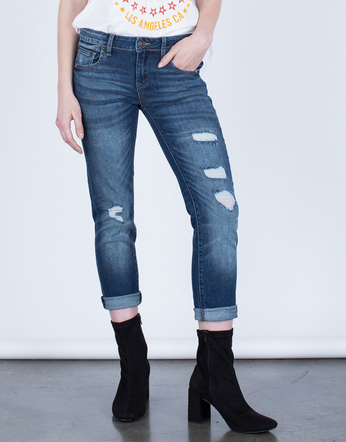 Front View of Mid-Rise Cropped Jeans