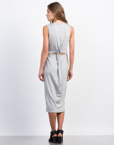Back View of Midi Tank Twist Back Dress
