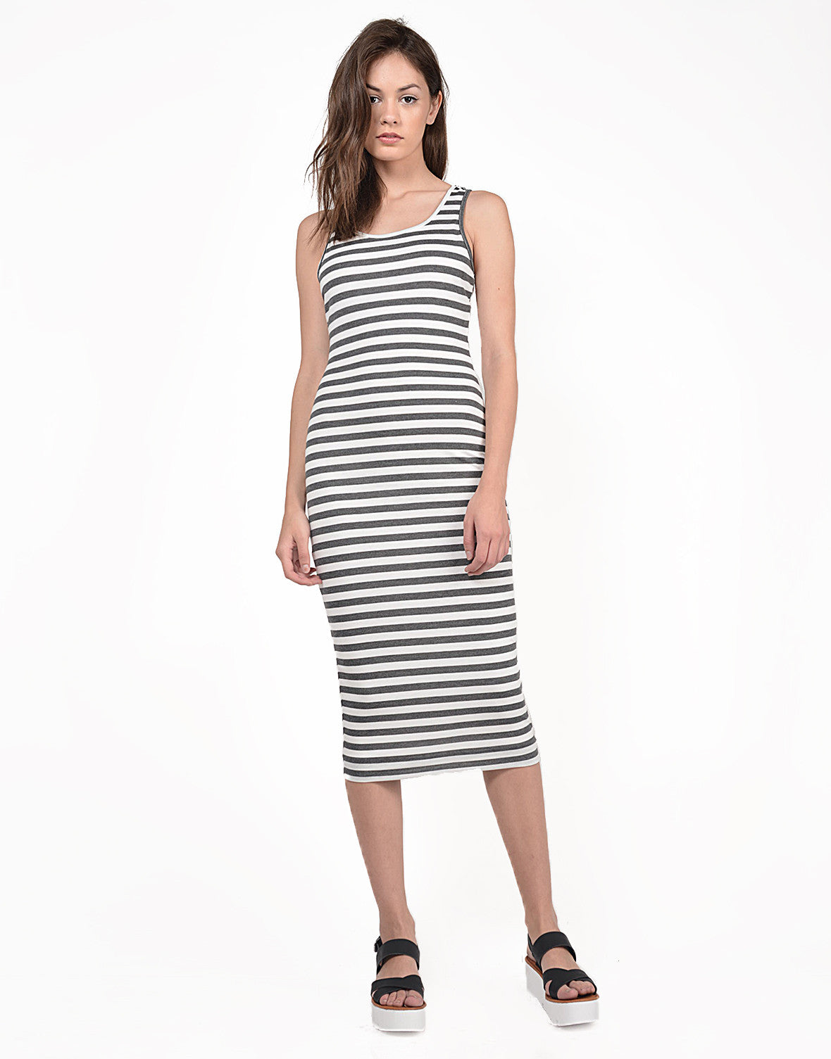 Front View of Midi Striped Tank Dress
