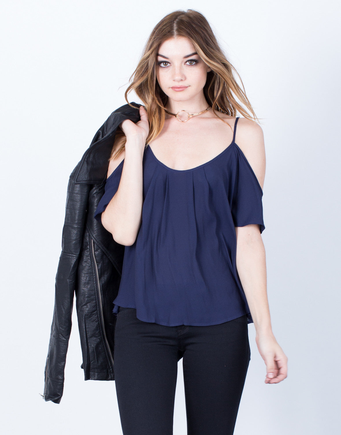 Front View of Midnight Chiffon Top