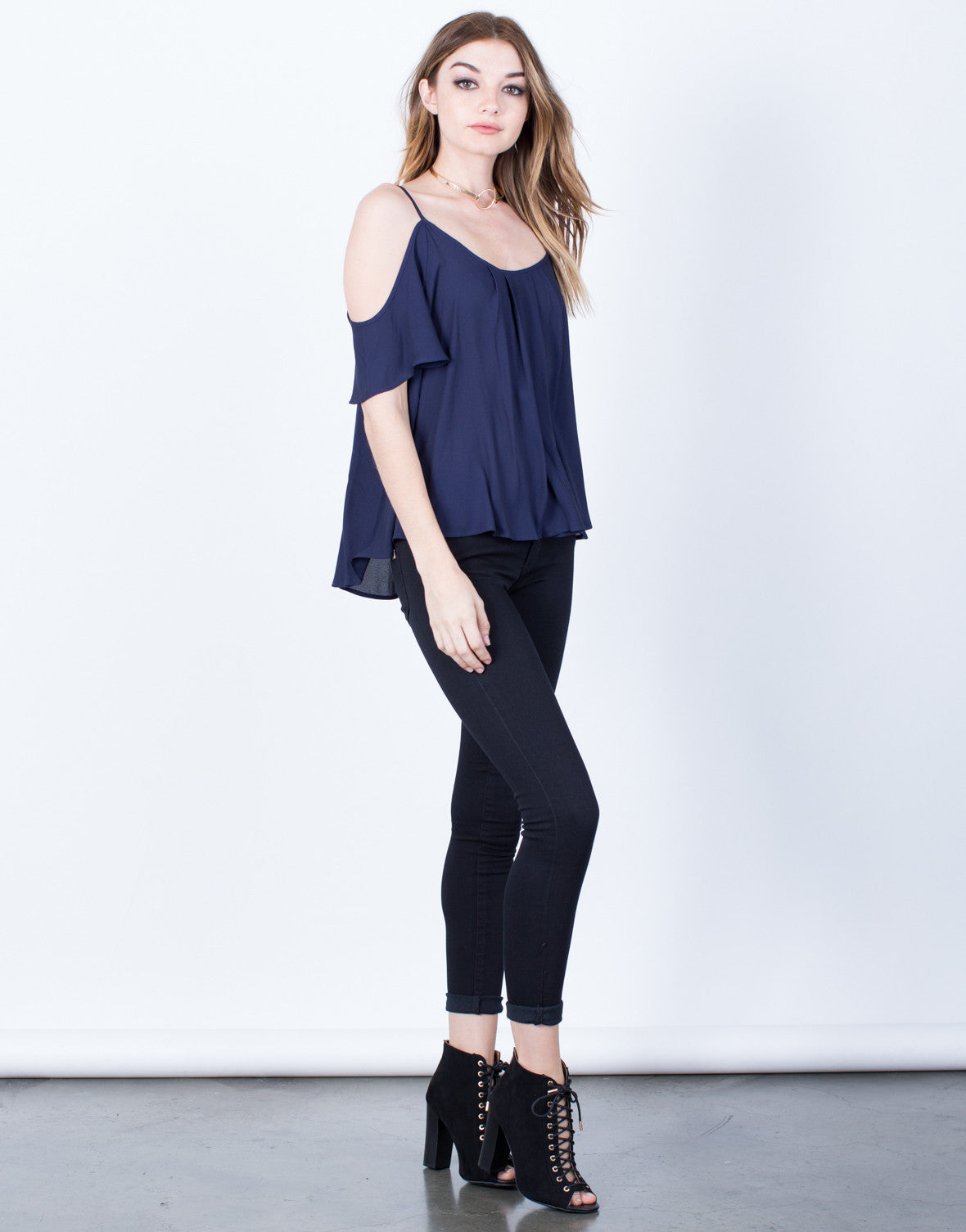 Side View of Midnight Chiffon Top
