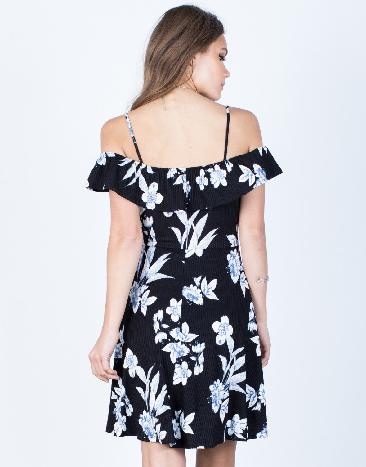 Back View of Midnight Floral Dress