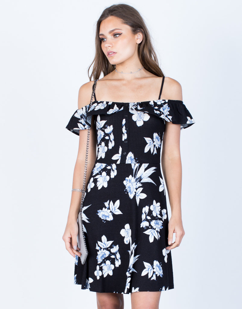 Front View of Midnight Floral Dress
