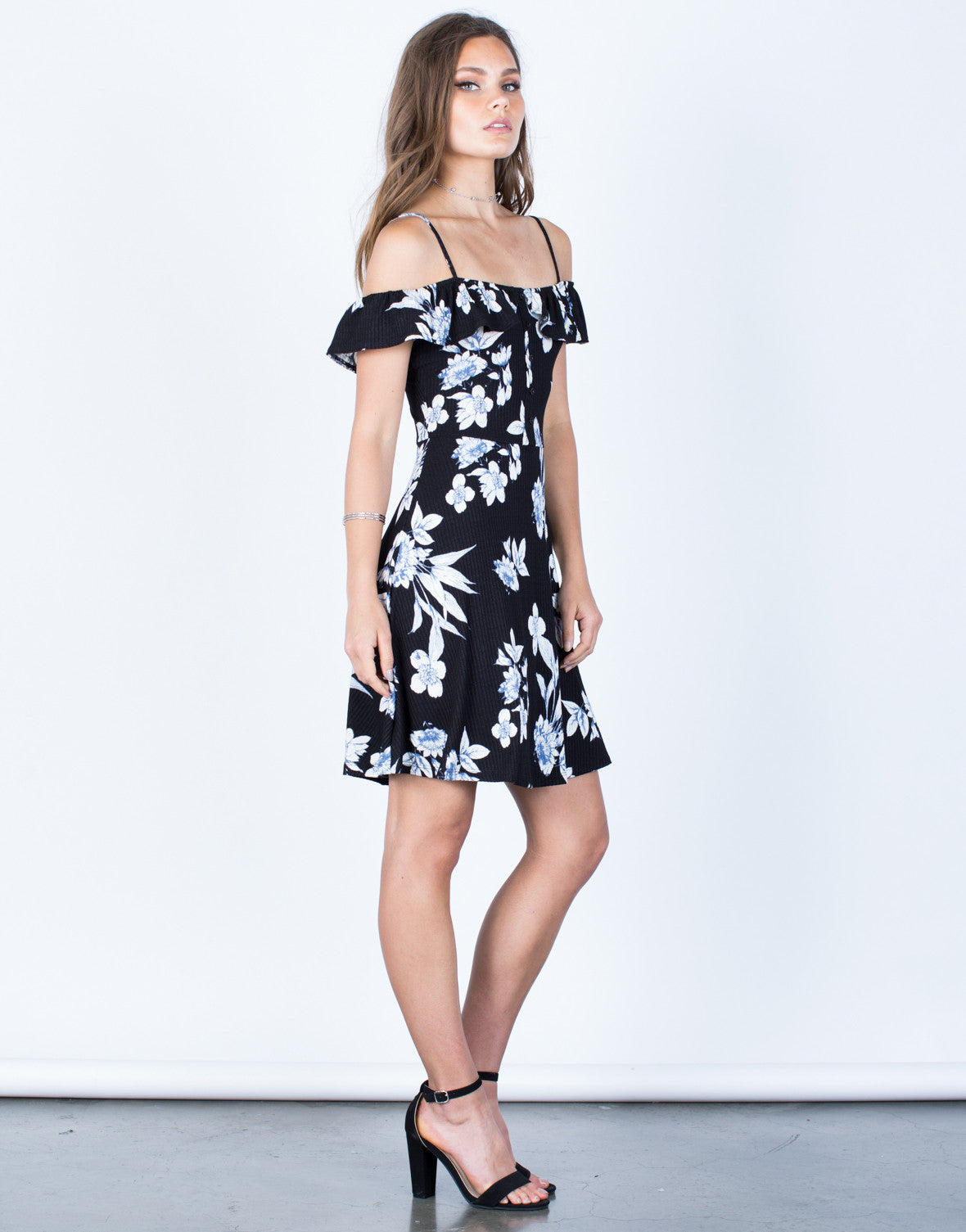 Side View of Midnight Floral Dress