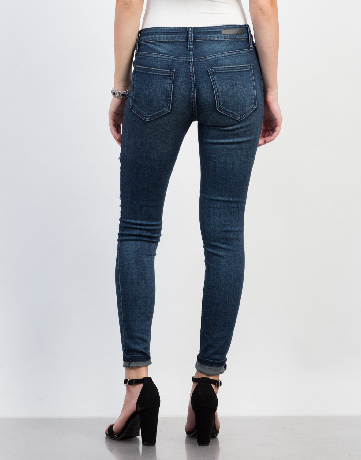 Back View of Midnight Skinny Blue Jeans
