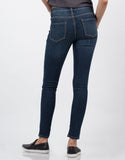 Back View of Mid Rise Knee Slit Skinny Jeans