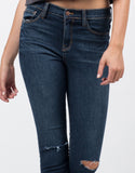 Detail of Mid Rise Knee Slit Skinny Jeans