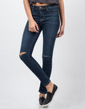 Front View of Mid Rise Knee Slit Skinny Jeans