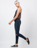Side View of Mid Rise Knee Slit Skinny Jeans