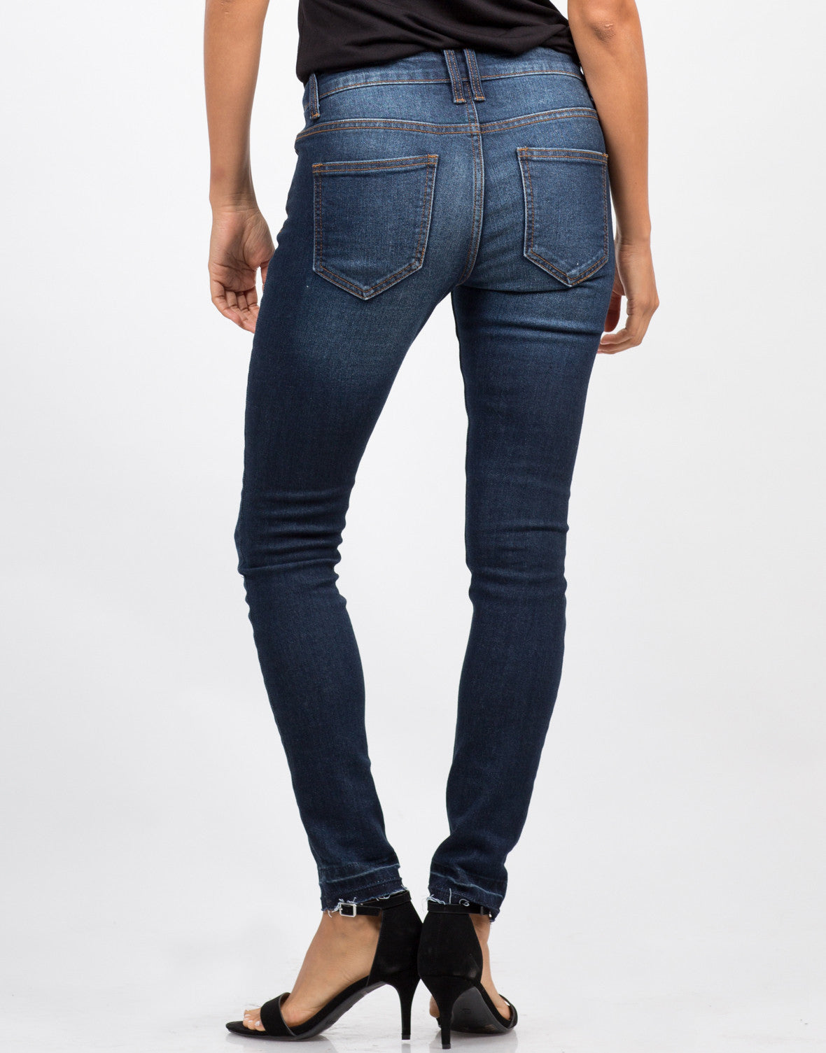 Back View of Mid-Rise Released Hem Jeans