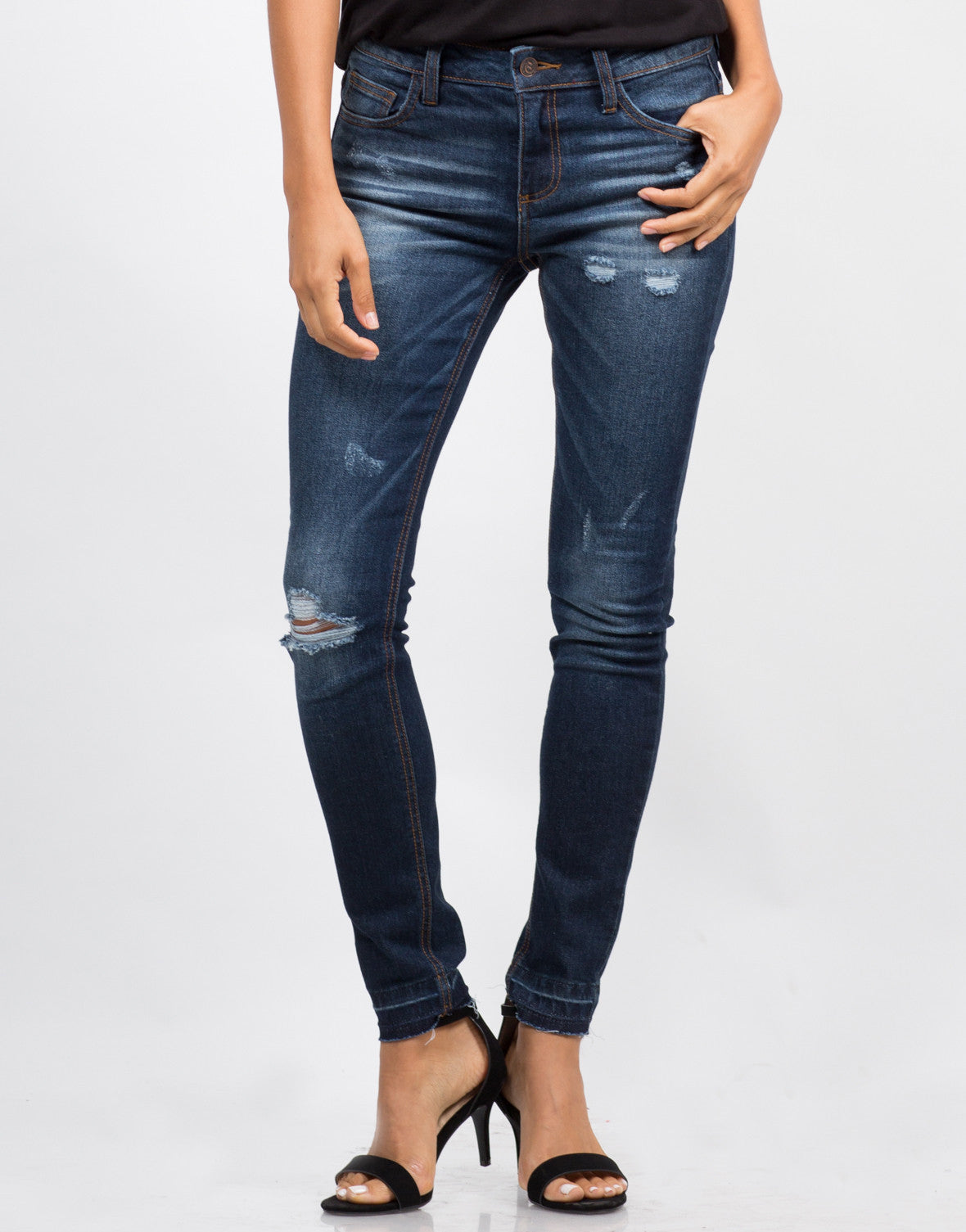 Front View of Mid-Rise Released Hem Jeans