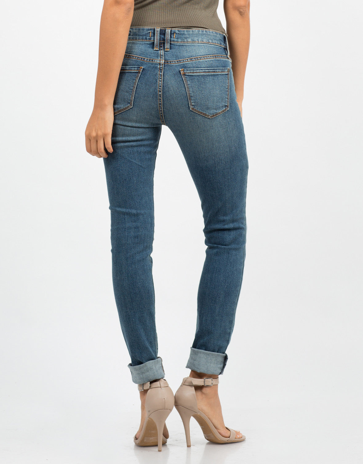 Back View of Mid Rise Skinny Jeans