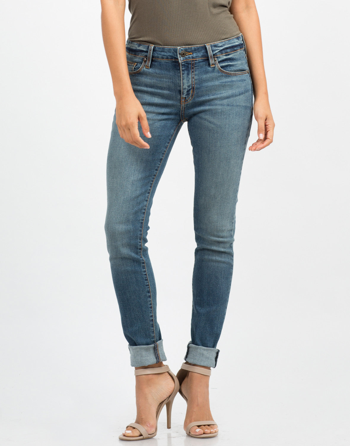 Front View of Mid Rise Skinny Jeans