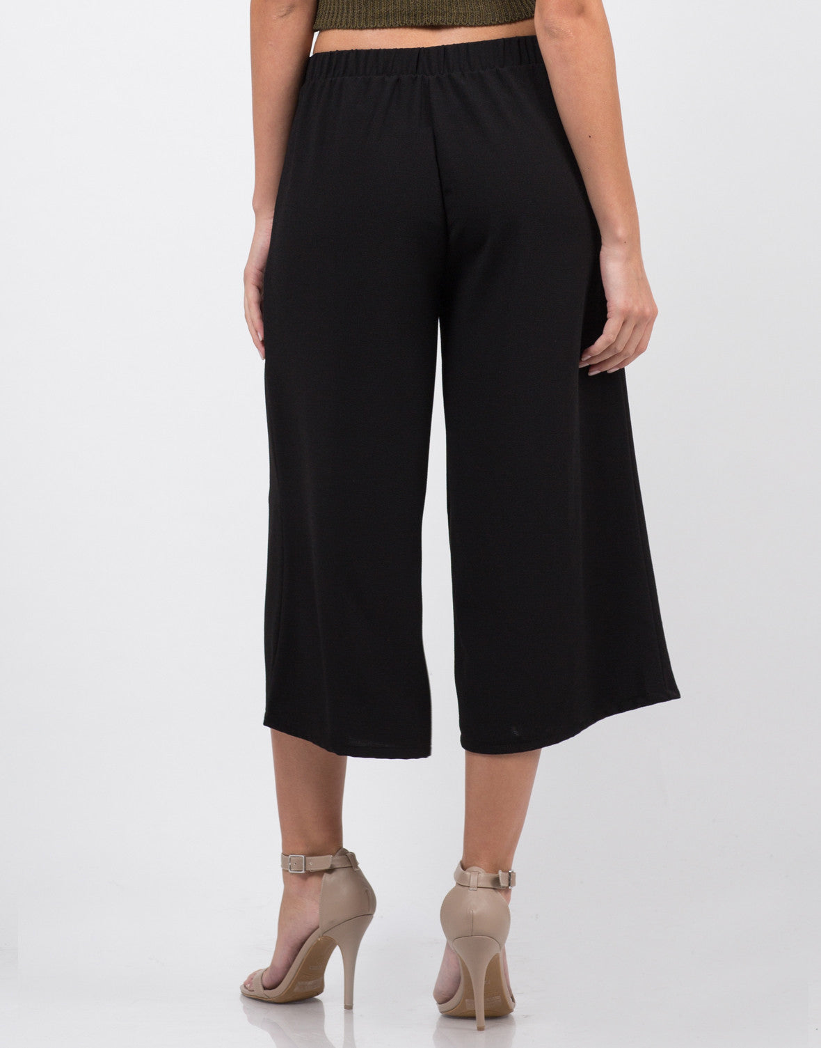 Back View of Mid Waist Culottes