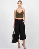 Front View of Mid Waist Culottes