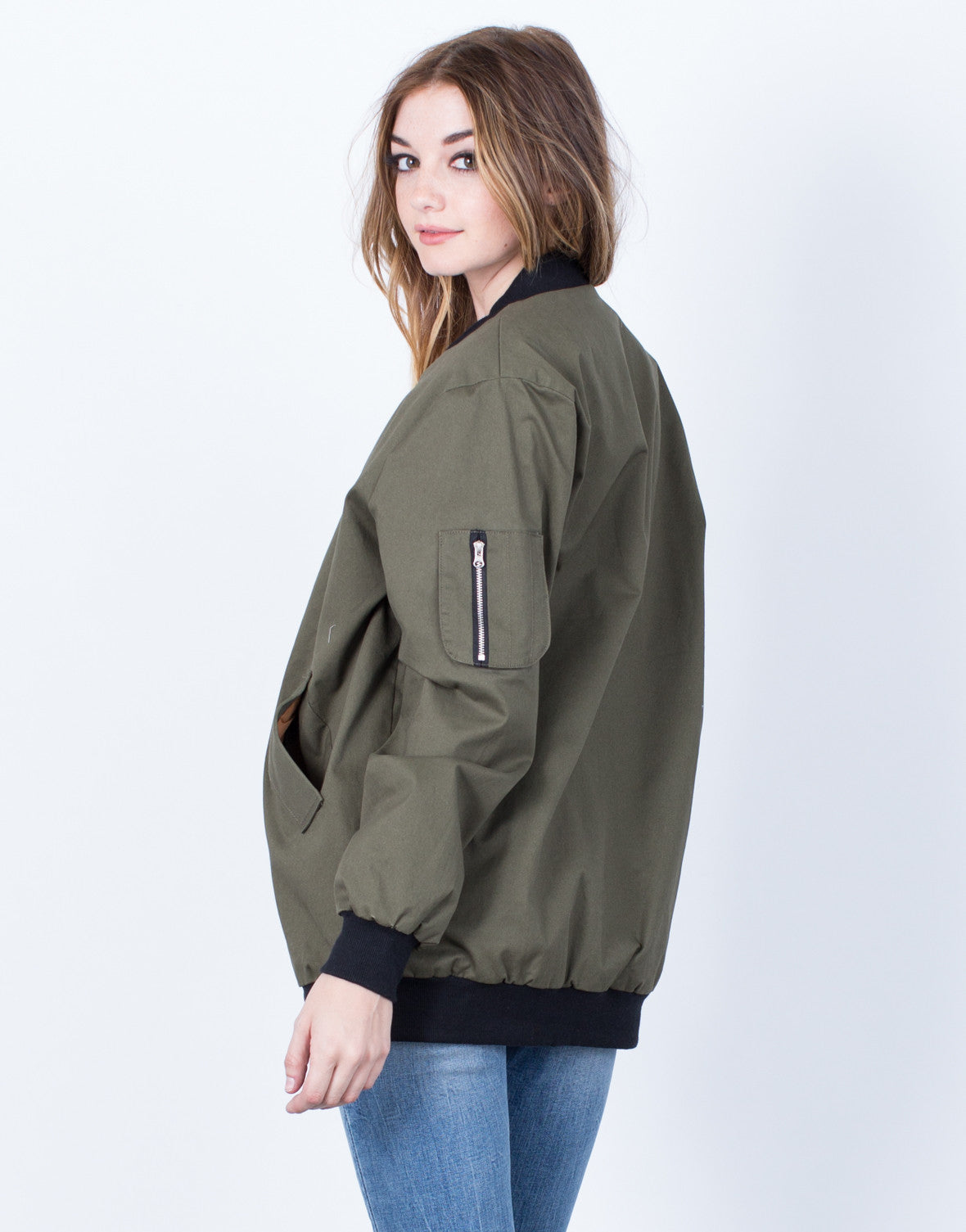 Back View of Military Bomber Jacket