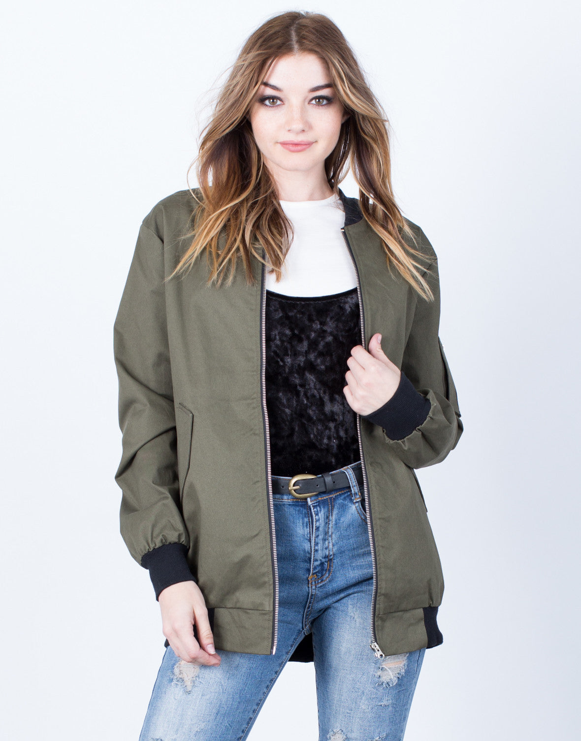 Front View of Military Bomber Jacket
