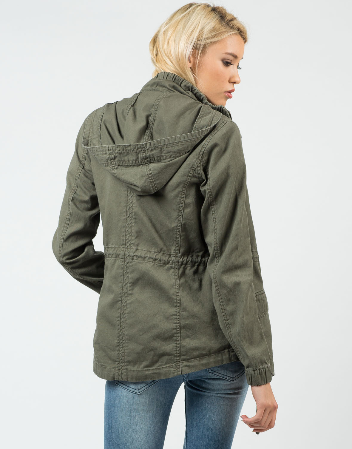 Back View of Military Hooded Jacket