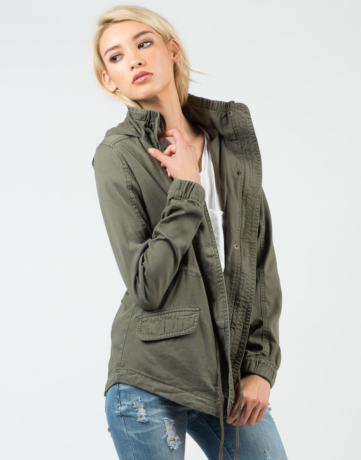 Front View of Military Hooded Jacket