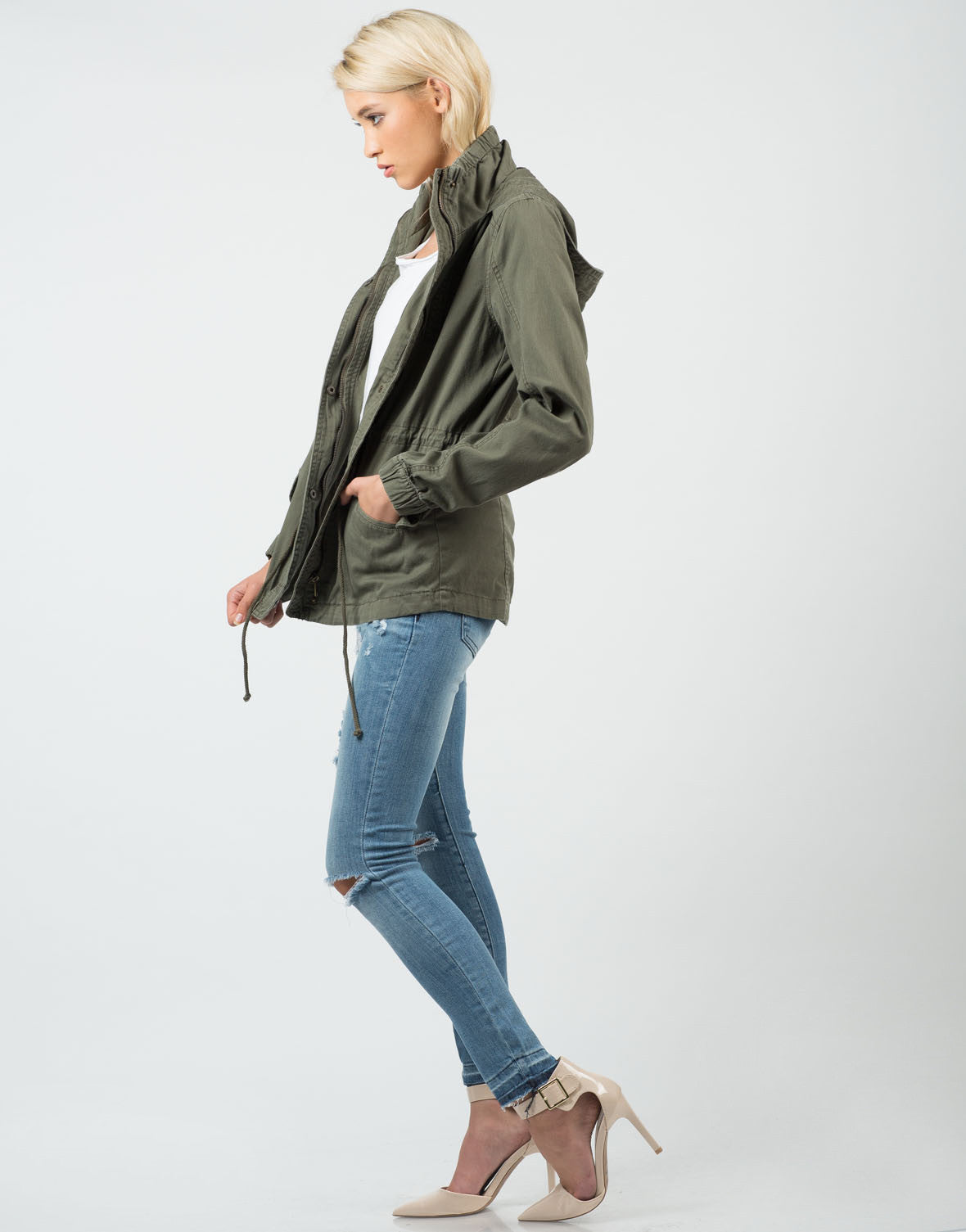 Side View of Military Hooded Jacket