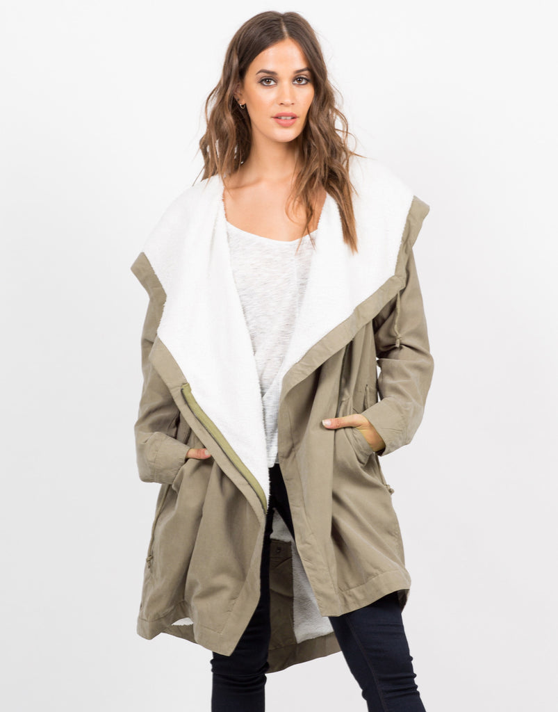 Military Hooded Shearling Jacket - 2020AVE