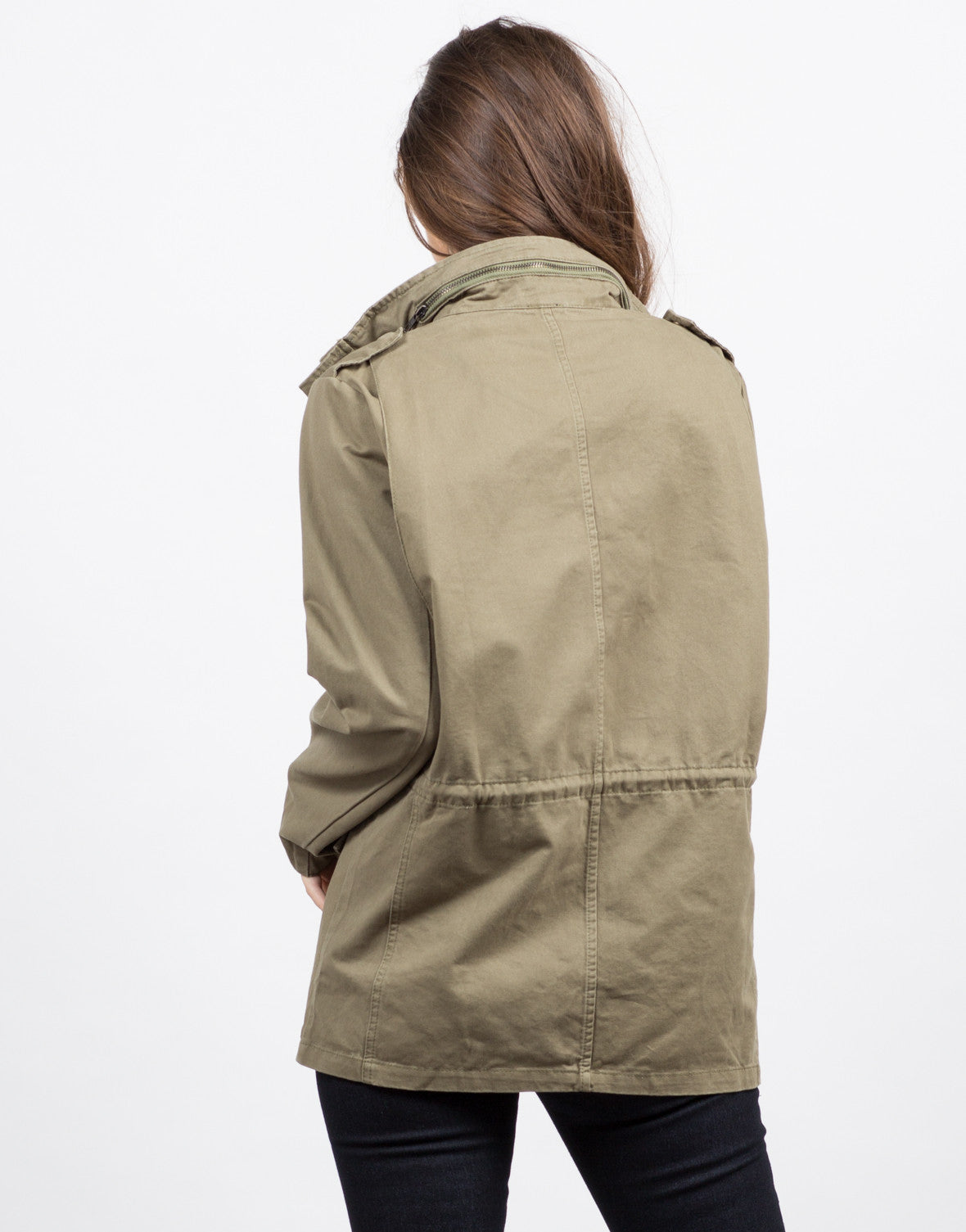 Back View of Military Utility Jacket
