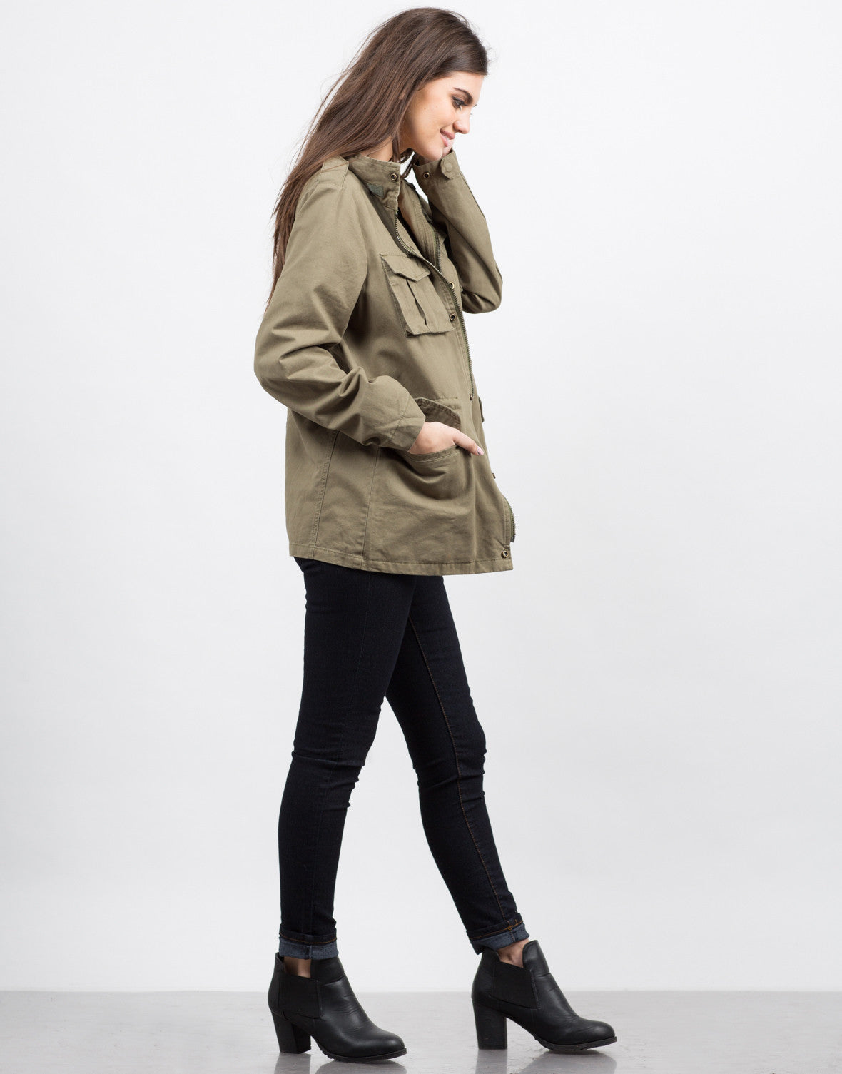 Side View of Military Utility Jacket