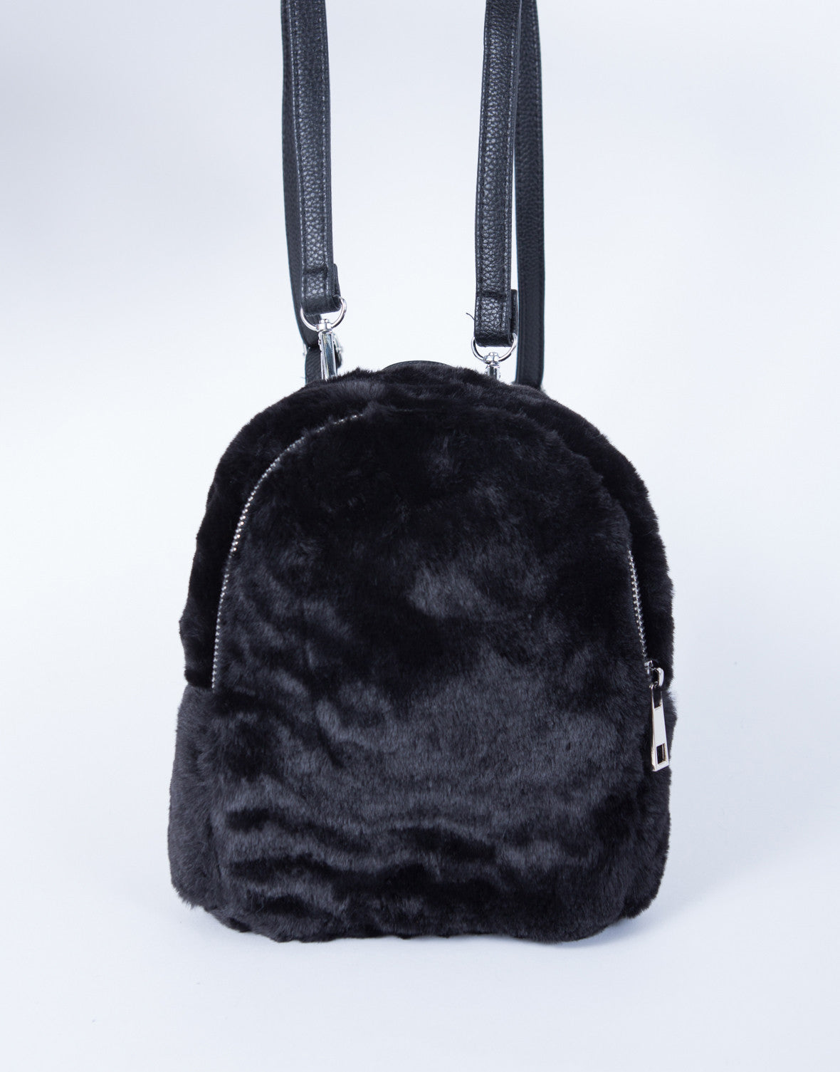 33d0585fca38 Mini Fur Backpack - Black Furry Backpack - Mini Black Zip Up ...