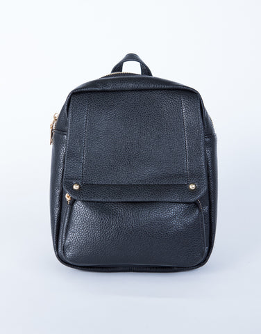 Mini Leather Flap Backpack