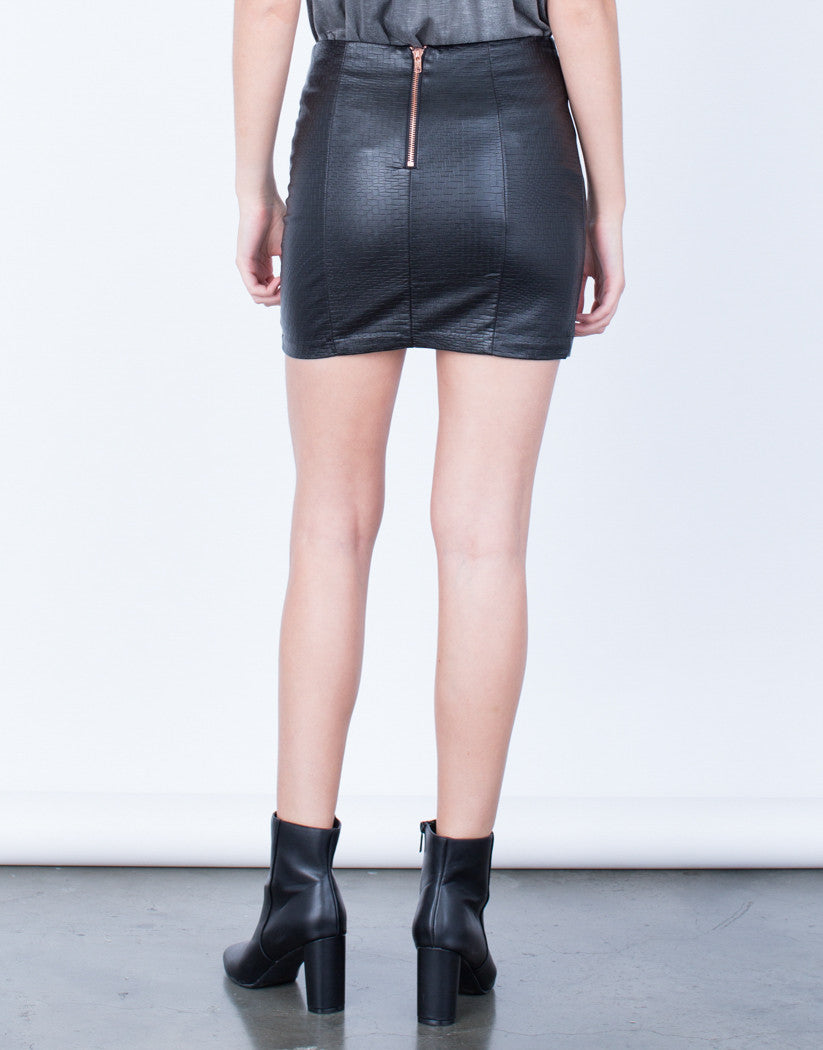 Back View of Mini Leather Skirt